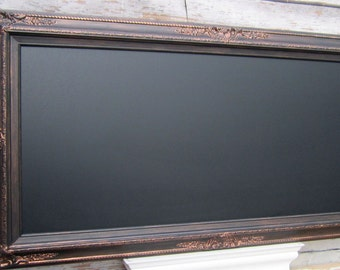 "BLACK FRAMED BLACKBOARD Oil Rubbed Bronze Black Magnetic Ornate Framed Chalk board - ExTRA LaRGE - 56""x32"" Home Office Large Long Chalkboard"