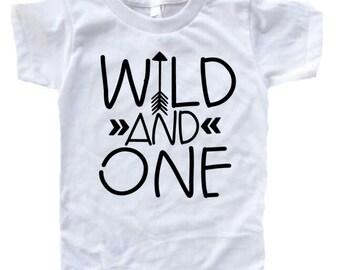 Wild and one, first birthday shirt, girl birthday shirt, ONE shirt, arrow shirt, 1st birthday outfit, tribal birthday, boy birthday