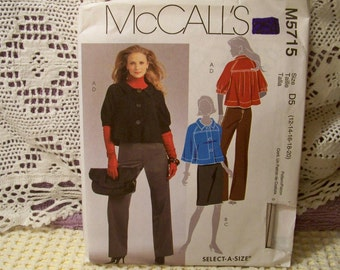 McCall's Pattern - M 5715 - Misses' Lined Jackets, Skirt And Pants - Size 12-14-16-18-20 - Select-A-Size - Factory Fold, Uncut Pattern