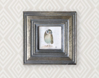 Original watercolour of a shy owl called Penelope. This is an original, NOT A PRINT. Perfect for a baby or child's room!