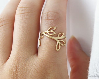 Gold Branch Ring, Whimsical Ring