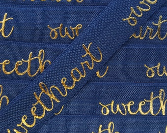 5/8 NAVY SWEETHEART Gold Foil Fold Over Elastic