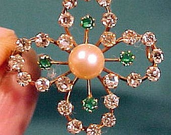 Edwardian 9K PEARL & PASTE BROOCH 1900 1910 9 K Green Clear Stones