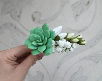 Green Succulent hair pin White bridal hair pin Gypsophila White freesia hair pin Wedding hair accessories Gift for her Bridesmaid hair pin