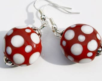 Burgundy Red ceramic polka dot earrings