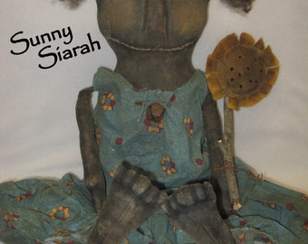 "Sunny Siarah 18"" Primitive Black Doll w/ Sunflower IMMEDIATELY DOWNLOADABLE EPATTERN"