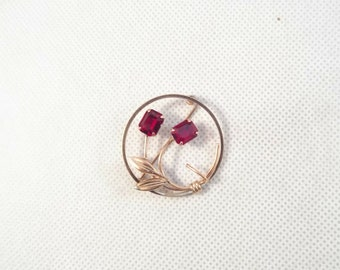 Van Dell 12k Gold Filled Round Brooch with Red Rhinestones, Floral Theme