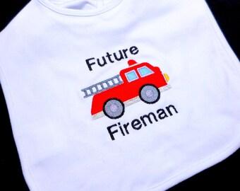 Toddler bib, fireman baby, thick bib, firefighter daddy, future fireman, firefighter baby, embroidered bib, gift for fireman, toddler boy