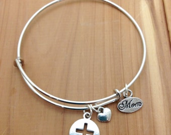 Adjustable Bangle Bracelet - Cut-Out Cross and Mom Charms