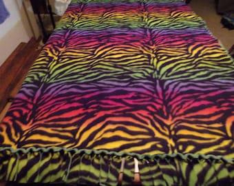 Rainbow Zebra print handmade fleece blanket