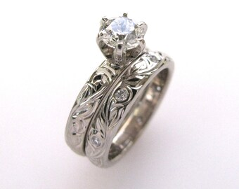 Hand Engraved Engagement Ring and Wedding Band Vine and Leaf Hand Engraving
