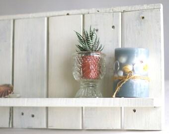 Wall shelf wooden palette, white, shelf, balcony