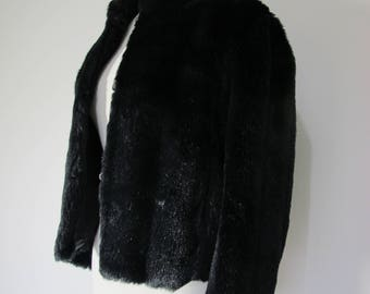 Vintage Vegan JET BLACK FUR Crop Soft Luxurious Glossy Faux Fur Jacket Coat  S