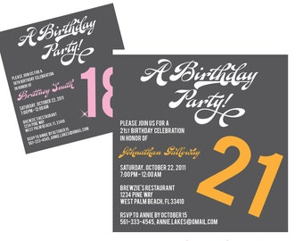 DIY Printable Teen/Adult Birthday Party Invitation - Lovely Little Party - you choose color