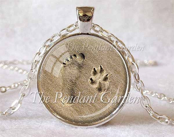 Dog lover necklace dog paw pendant paw print jewelry paw and zoom aloadofball Gallery