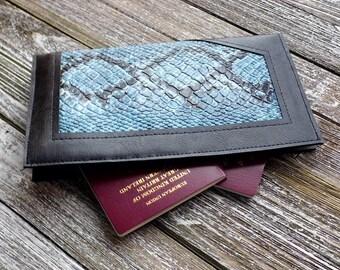 Blue Travel Wallet Document Wallet Vegan Leather Travel Wallet Passport Case Faux Leather Wallet Passport Holder Gift Idea Re purposed