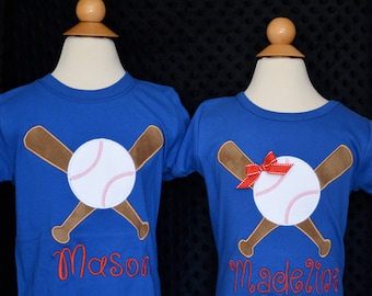 Personalized Crossed Baseball Bats Applique Shirt or Bodysuit Girl
