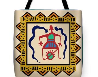 Shaman Fertility Ritual African Tote Bag Gift - Decorative Throw Pillow - Reusable Shopping Bag - African Laptop Bag - Book Bag - Diaper Bag