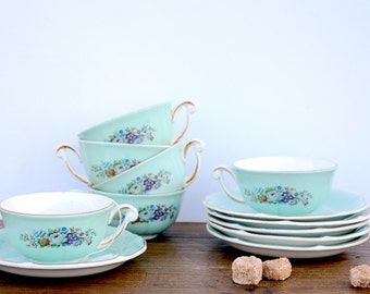 Set of 6 cups and saucers with floral pattern, coffee, France, 50s porcelain cups