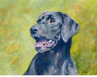 Labrador retriever dog portrait - watercolor art print mounted on wood panel - ready to hang