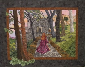 AWARD-WINNING Landscape Wall Quilt, Medieval, Castle, Lady, Trees, Forest, Stone, Sunset, Dawn