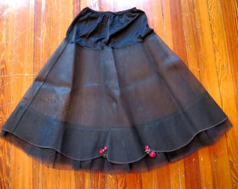 Adorable 50s NOS Black Net/Mesh Crinoline