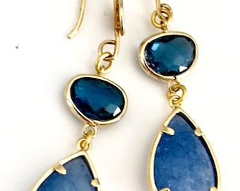 Blue Gold Teardrop Earrings, Blue Sparkly Earrings, Gold Blue Dangles