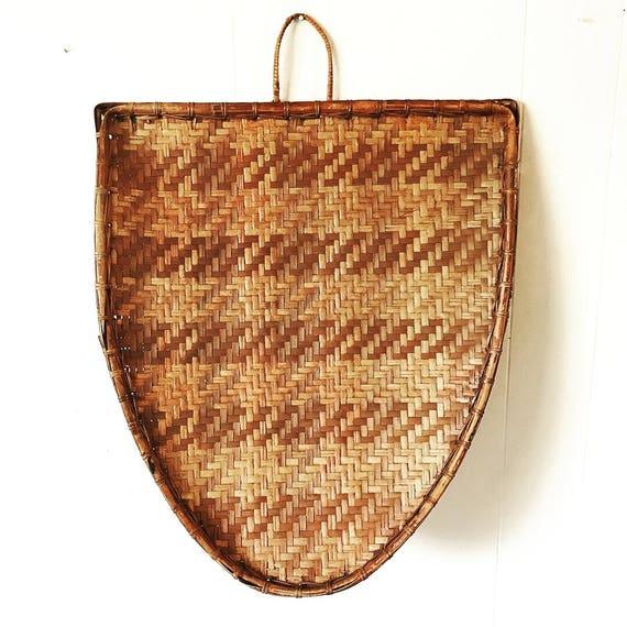 large bamboo shield tray - woven wall basket - brown boho wall decor