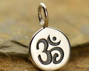 Ohm Charm Necklace Yoga Jewelry Om Aum Pendant Sacred Symbol Meditation Disc 925 Sterling Silver 646