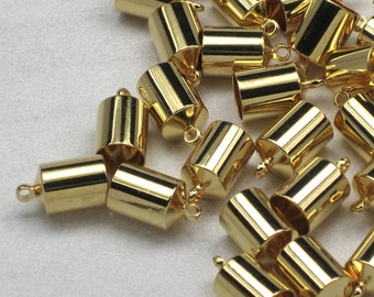 6mm End Caps, 8 or more, gold plated brass, barrel shaped, glue in style cord ends for leather and Kumihimo braids