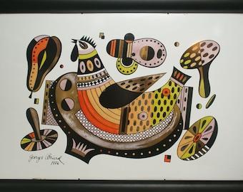 Chicken original 1956 artwork painting Georges Briard