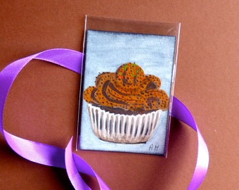 Original ACEO, cupcakes ACEO, oil painting, Art card, Cupcakes cards, mini painting, Original art, cupcakes painting, Original painting, ATC