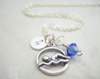 Sterling Silver Swimmers Charm Necklace, Personalized with a Swarovski Birthstone Crystal or Pearl and Sterling Initial Disk