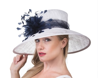 White with Navy Blue  Feathers  Flowers Kentucky Derby Hat, Church Hat , Tea Hat Wide Brim Sinamay Hat 7502