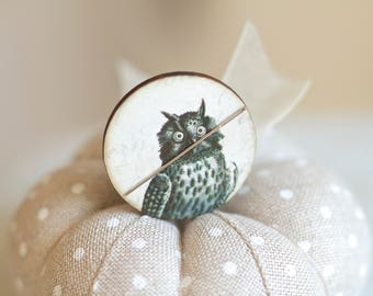 Pick One Illustrated Owls Needle Minders counted cross stitch tool Halloween