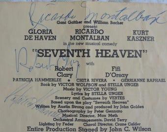 Original Autographed Playbill, Seventh Heaven,Gloria De Haven, Ricardo Montalban, Mid Century