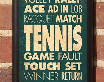Tennis Wall Art Sign Plaque Gift Present Home Decor Vintage Style Custom Color Lob Service Deuce Love Volley Rally Winner Classic