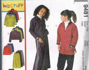 Size 7-8 Girls Easy Pants Skirt & Fleece Top Sewing Pattern - Skirt Sewing Pattern - Pants Sewing Pattern - Fleece Sweatshirt - McCalls 9481