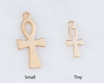 SC4332 10 Ankh Charms Antique Silver Tone 2 Sided Cross Charm