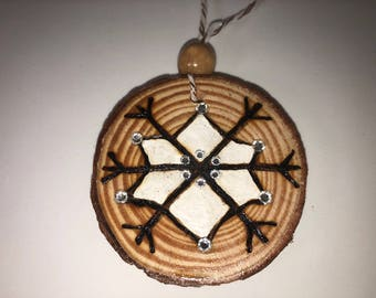 Wood burned ornament with Swarovski crystals