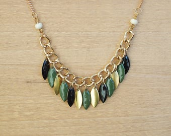 Boho necklace Green Khaki Apache - enameled jewelry