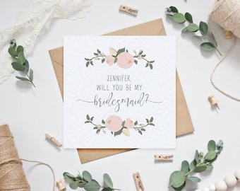 Personalised Bridesmaid Card - Will you be my bridesmaid? - Blush Floral
