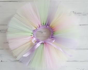 Rainbow Tutu Pastel pink lilac yellow mint colours for girls birthday photo prop cake smash baby toddler skirt