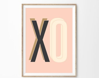 X O | Retro Art Print | Boutique Wall Art Poster | Midcentury Modern Art | Cream Pink Nursery Decor | Printable File Printable Art Download