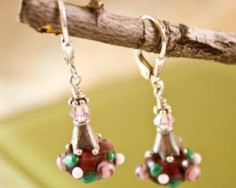 Purple Roses Lampwork Earrings crystal and sterling dangle sweet small