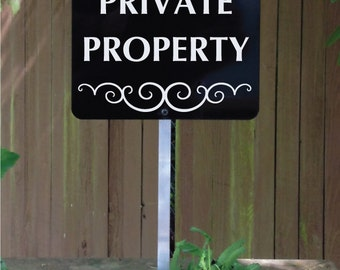 PRIVATE PROPERTY Sign with attached yard stake. Ships FREE (66006)