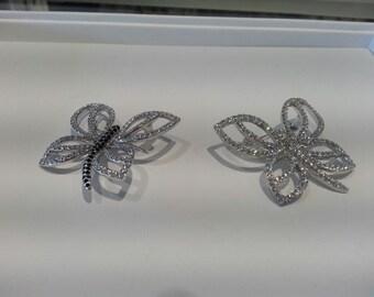 Beautiful Swarovski Set Butterfly Brooches - Canadian