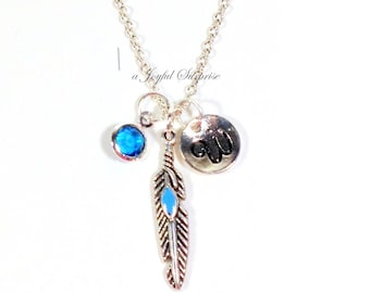 Personalized Feather Necklace, Peafowl Feather Jewelry, Dainty Blue Feather Charm Gift, Native American Jewelry  initial birthstone 186