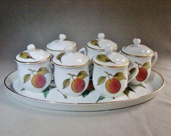 Royal Worcester Evesham - 6 Pots de Creme and Tray