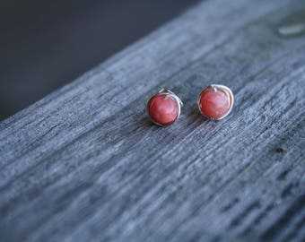 Wire Wrapped Pink Quartzite Stud Earrings